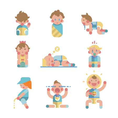 Set of cute small babies in action. Vector.