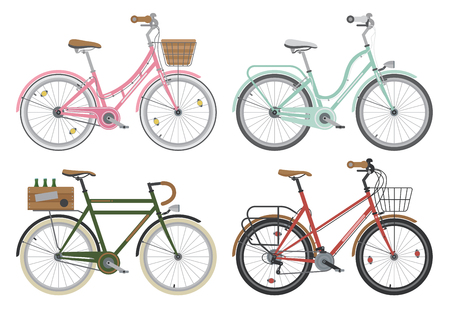 configurations: Four configurations of city, street or casual bicycles. Bikes for short distance around the town. Different frames and accessories bicycle set. Ecology transport. Detailed vector illustration.