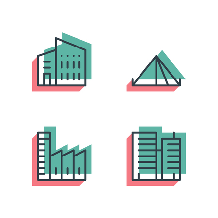 Unique thin line pixel perfect icon set. Anaglyph 3D colorful style. Different house, buildings, institutes, and factories icons. Suitable for web and print Isolated vector icons.