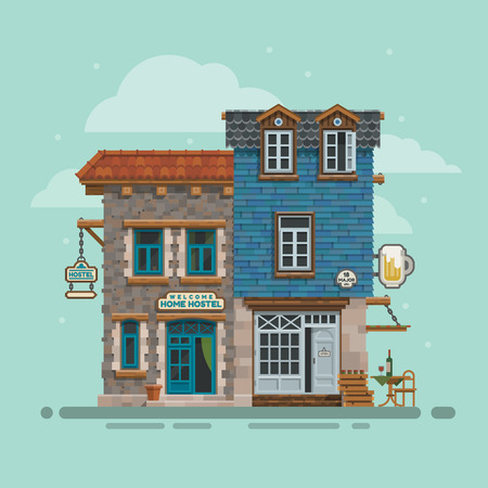 Beautiful detailed lodging and accommodation building facade. Youth hostel, bar for season vacation. Street view low budget guest house with bead and breakfast. Illustration for travel business Illustration