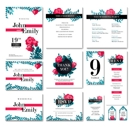 Set of Wedding design concept with Invitation, menu, Rsvp, cute card, envelope, cover, poster. Floral design concept with Rose flower, eucalyptus, romantic trendy greenery forest bouquet Illustration