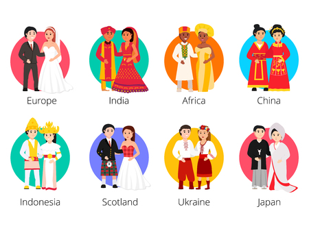 Local weddings collection with the bride and groom wearing traditional dress and engaging in local customs. Vector set of Wedding couples in traditional clothes. Different weddings vector illustration