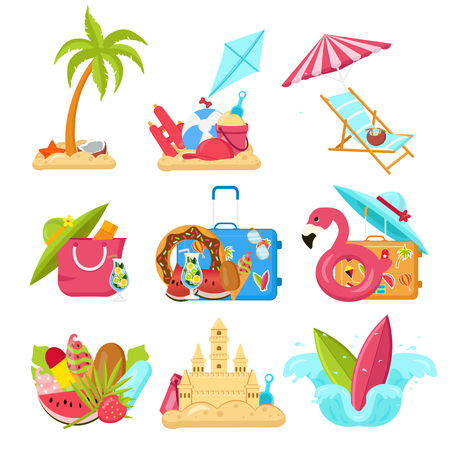 Bright, minimalist vector images, objects that capture the spirit of summer, summertime, summer colors: flamingo inflatables, ice cream, fruits, sunglasses, tropical leaves, cocktails. Design concept