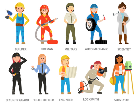 Mujeres trabajadoras en roles de hombres no tradicionales, profesión: policía, seguridad, chofer, bombero, militar, mecánico, científico, cerrajero, topógrafo. Chica feminista, mujer. Concepto de diseño vectorial Ilustración de vector