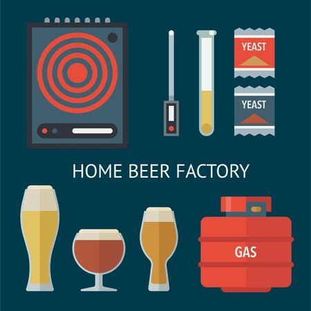 Home brewing factory production items. All you need for brew home made craft beer. Elements for home brewery. Mashing, cooling, fermentation, bottling. Creative vector collection. Stock Illustratie