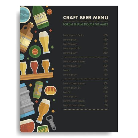 Craft beer menu template. Concept design menu for cafe, bar, restaraunt. Design idea template concept.