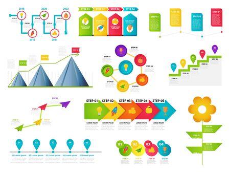 Milestone, timeline templates set for presentation, business concept, vector design. Infographic elements of milestone, timeline, icon for design concept, annual report, presentation. Vector design.