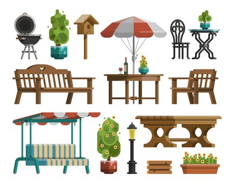 Modern garden design furniture set. Sunshade umbrella and different types of tables and chairs. BBQ grill, garden lantern and decorative trees. Flat style vector isolated on white background. Vecteurs