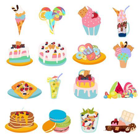 Ensemble vectoriel de bonbons : bonbons durs, chocolat, canne à sucre, sucette, menthe poivrée, crème glacée, pastèque, beignets, gelée, gâteau, fruits, gaufres. Illustration vectorielle dessinés à la main. Doux été, amusez-vous