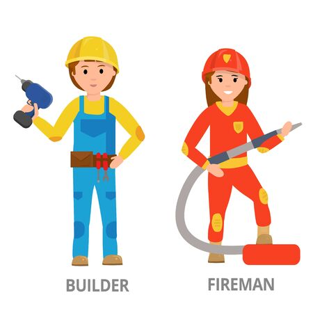 Women hard working in non-traditional man's roles, profession: police, security, driver, firefighter, military, mechanic, scientist, locksmith, surveyor. Feminist girl, woman. Vector design concept Çizim