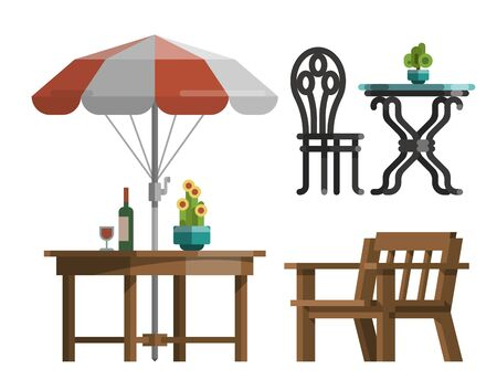Modern garden design furniture set. Sunshade umbrella and different types of tables and chairs. BBQ grill, garden lantern and decorative trees. Flat style vector isolated on white background.