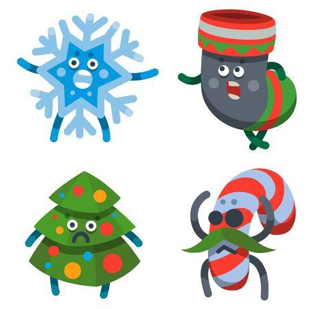 Vector illustration emoticons icons set on theme of winter holiday. Emoji emoticons Happy New Year icon. Emotion merry Christmas funny gift, star, toy, tree, snowflake. Xmas sticker icon. Flat cartoon