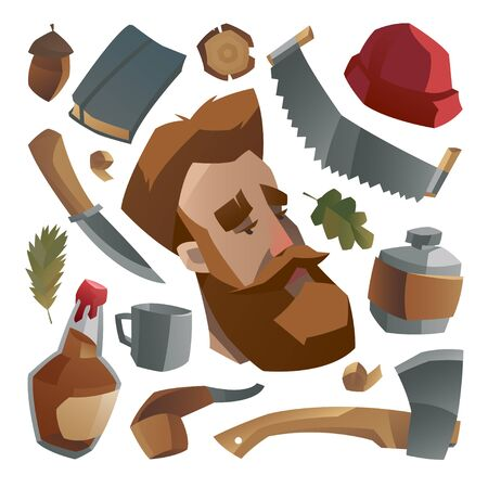 Lumberjack with ginger beard and his stuff. Collection of lumberjack things and work tools. element, tools. Vector illustration. Banque d'images - 149348395