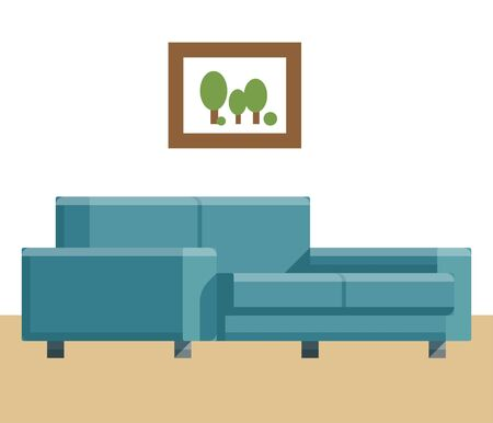 Sofa and bed, home accessories. Furniture design. Furniture decorative set. Comfortable sofa. Luxury couch for apartment, comfort chair model, modern house armchair. Vector illustration.