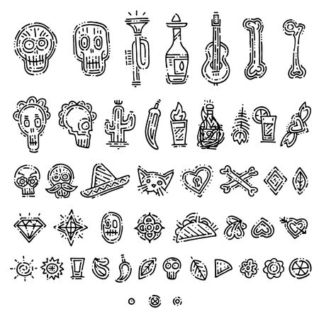 Day of the death handdrawn doodle elements. Creepy holiday set with different elements, skulls, tequila, pepper, bones. Autumn holiday. Season Mexican holiday. Hand drawn icons.