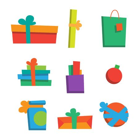 Vector illustration. Set of happy new year gifts and presents. Merry christmas gifts. Xmas set of colorful presents. Modern flat style. For your design, banner, poster, gift card.
