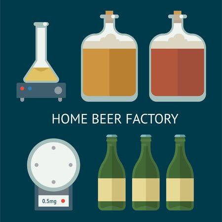 Home brewing factory production items. All you need for brew home made craft beer. Elements for home brewery. Mashing, cooling, fermentation, bottling. Creative vector collection. Illustration