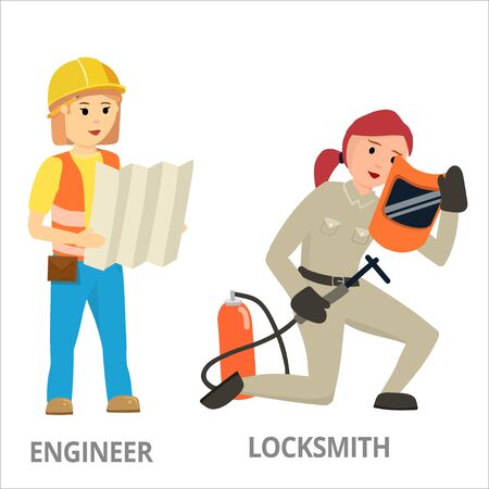 Women hard working in non-traditional man's roles, profession: police, security, driver, firefighter, military, mechanic, scientist, locksmith, surveyor. Feminist girl, woman. Vector design concept Illustration