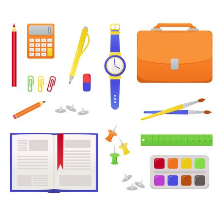 School supplies from students, pupil backpack. Vector colorful illustration of orange schoolbag, book, globe, calculator. Bright concept design for web, site, advertising, banner, poster, board. Illustration
