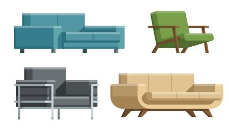 Sofa and bed, home accessories. Furniture design. Furniture decorative set. Comfortable sofa. Luxury couch for apartment, comfort chair model, modern house armchair. Vector illustration.  Illustration