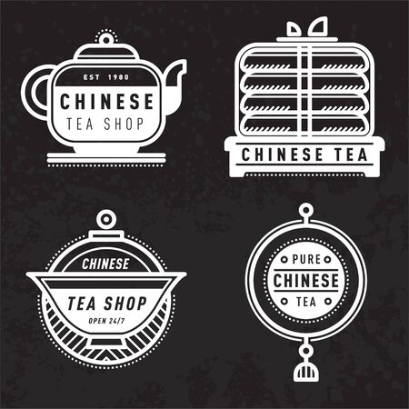 Vector chinese tea logo, badge, label. Popular asian drink badge, poster. Decoration, print. Typography design chinese tea element. Modern elegant hot drink label. Authentic Retro Vector Tag Design Illustration