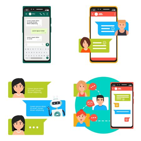 Online video, messenger chatting on smartphone, laptop and computer vector illustration set. Flat collection of speaking people, bubble speeches messages on phone, online chat app, internet talk call