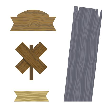 Wooden different shapes signs boards set, vector elements. Wooden tablets and signs. Vector icons on white background. Elements for design. Concept of location. Stock sign boards simple illustration