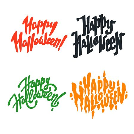 Vector illustration set of halloween postcards. Creepy happy halloween lettering postcards. Autumn holiday postcard. Season holiday. Hand drawn lettering with text happy halloween.