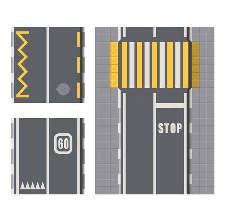 Set of Seamless Road Marking on a White Isolated Background. Top View. Straight Highway Infographic Templates. Seamless asphalt road and highway types from top view. Vector illustration. Illustration