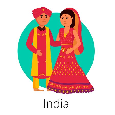 Local weddings collection with the bride and groom wearing traditional dress and engaging in local customs. Vector set of Wedding couples in traditional clothes. Traditional weddings couple vector