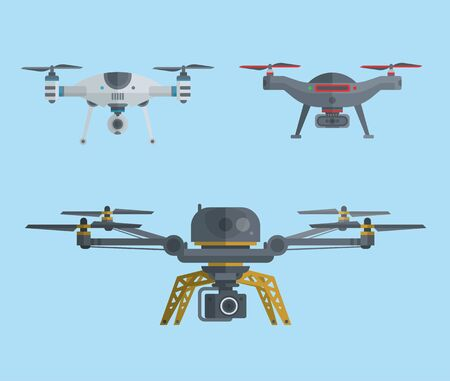 Drones icon. Unmanned aircrafts drones with controllers vector illustration. Set of modern air gadjet, quadrocopters and remote control. Flat cartoon style of aircrafts camera.