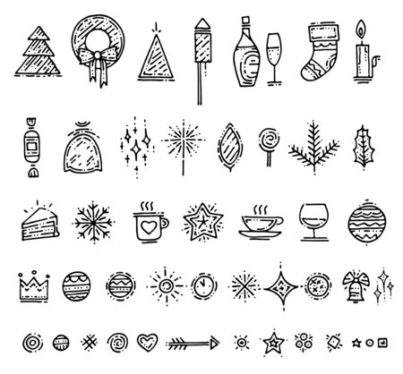 Merry Christmas silver gold elements on white background. Happy New Year icon for greeting card or wrapping or wallpaper with new year hand drawn elements. Winter holiday Vector illustration