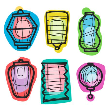 Colorful handdrawn vector illustration with different china lanterns. China holiday, festival paper lantern. Element for your design, web, posters, banners, postcards, advertising. Illustration