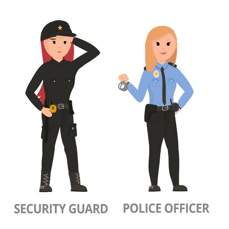 Women hard working in non-traditional man's roles, profession: police, security, driver, firefighter, military, mechanic, scientist, locksmith, surveyor. Feminist girl, woman. Vector design concept Ilustrace