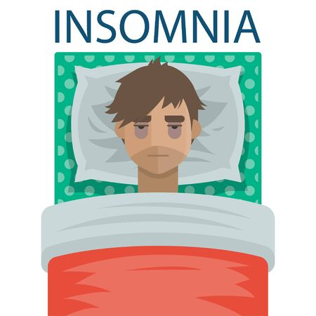Young man with sleep insomnia problem. Man try to sleep on pillow in his bed under the blanket. Exhausting insomnia, no dreams. Vector illustration art.