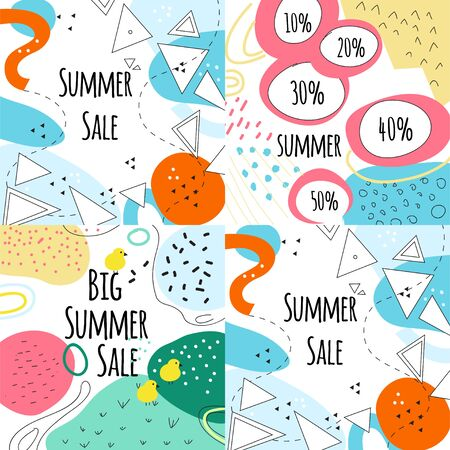 Summer sale vector banners set with leaves and flowers, modern memphis style. Summer sale banner collection: special offer, get extra, this weekend only, summertime discount, big sale. Design concept