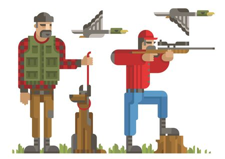 Set of hunters silhouette in different poses with weapon, gun, rifle, dog, duck. Modern geometric flat style. Hunters for design, web, infographic. Isolated vector illustration on white background.