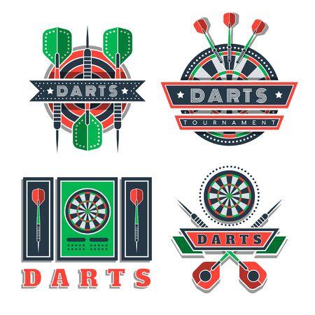 Darts tournament or club logo set. Design element, business sign. Identity, label, badge. Darts sport emblem, symbol with crossed arrows. Vector illustration. Team or sport club emblem design concept Logo