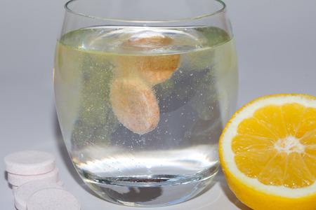 effervescence: Effervescent tablet in water with bubbles