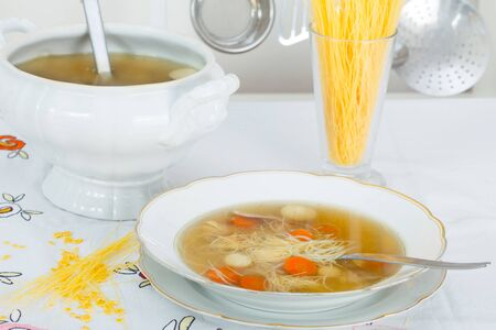 carot: Homemade healthy chicken soup with chicken meat and vegetables