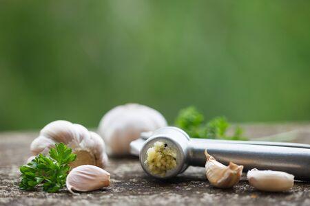 Garlic and garlic press on rustic wooden board Фото со стока