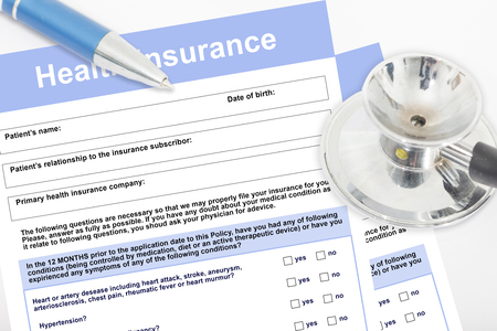 Blank health insurance form with stethoscope concept for life planning