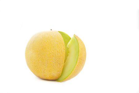 Cantaloupe melon isolated on white background. Refreshing slice of ripe, sweet melon.