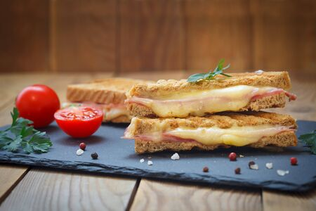 Close-up photo of a club sandwich. Toasted sandwiches with salami and melted cheese on wooden background.