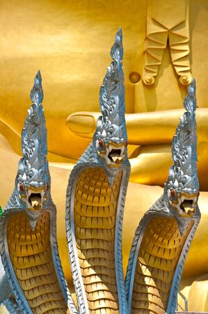 Three heads naga statue in thailand photo