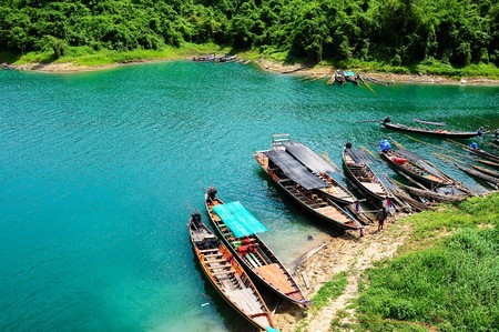 folkways: Travel boat, Lake in dam, south of thailand.