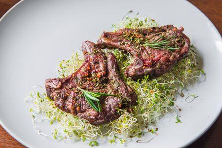chops: Braised Lamb Chops Stock Photo