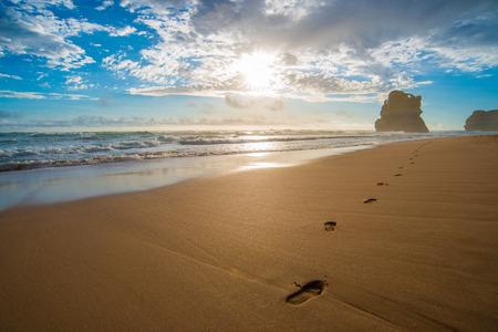 the Twelve Apostles, Beach walking footprints