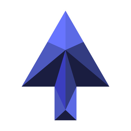 Arrow made with polygon patterns.