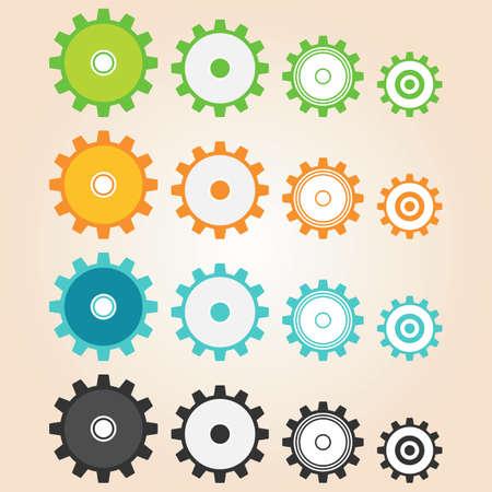 Gear vector 4 type, 4 color, use for clip   articonlogo.